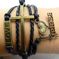 Bracelet - antique bronze cross bracelet, unlimited Bracelet