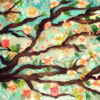 Fine art 5x7 print flowering tree from original painting acrylic on canvas by Ellen Brenneman