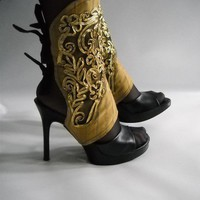 spats ref 70r9 black and  Golden  lace by joelmasouza on Etsy