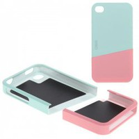 Elegant Hard Plastic Upper Case + Lower Case Slide Cover for iPhone 4/4S (Light Blue & Pink)