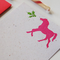 Holiday Horse stationery set, equestrian christmas stationary, letter writing paper gifts