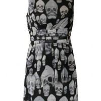 Multi Skulls Print Chiffon Dress - by Pilot