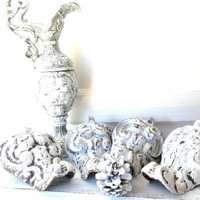Antique Cast Iron Claw Foot. Ornate Salvage. Shabby Chic WHite. Set of 4. Tub Feet. Wood Stove.