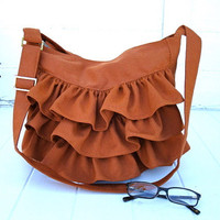 Krista - Sunbrella Ruffled shoulder bag - zipper closure