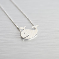Whale Necklace in Silver - Fun, Trend, Funky, Cute, Geek, Animals, Nautical, Marine, Sea, Ocean