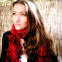 Red ruffle scarve scarf. frilly lace knitted winter Fashion accessories