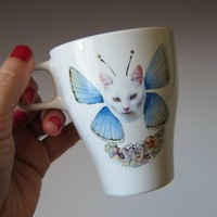 Cat Butterfly Mug - White Kitty Blue Wings