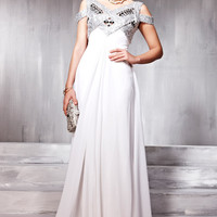 Multistraps White Wedding Dress With Silver Elegance