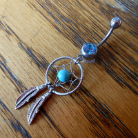 Belly button ring - Dream catcher with blue gem