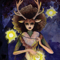 "PRINT. 8x10"". Combination woman-deer stands in the dark with orbs of floating light."