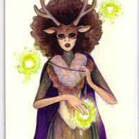 ORIGINAL ART. Mini painting of a woman with half a deer for a face and glowy, floating orbs.