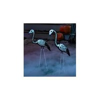 2 Halloween Skeleton Yard Flamingos Lawn Decor Ornaments - Great for Halloween Haunted House or Over the Hill Party Decorations