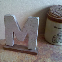 Rustic Med 7&quot; Cement Letter M with Stained Barnwood Base