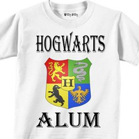 Harry Potter - HOGWARTS ALUM - Hogwarts - Crest - In Any Size Infant or Toddler Tshirt or Onesuit