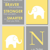 Yellow and Gray Modern Nursery Set - Always Remember You are Braver - Initial/Monogram - Elephant Prints - Set of four 8&quot;x10&quot;s