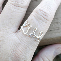 Adjustable Wire Wrapped Ring KISS Word Ring