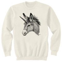 Amazon.com: Unicorn Donkey Burro Mule Art Crewneck Sweatshirt: Clothing