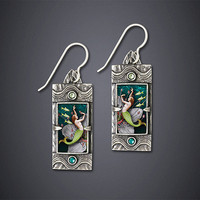 Dance of the Kelpies Earrings by Dawn Estrin: Silver Earrings - Artful Home