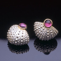 Deep Sea Basket in Pink by Hratch Babikian: Gold Silver  Stone Earrings - Artful Home