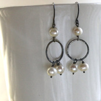 Rustic Freshwater Pearl Eternity Earrings - Pearl Chandelier Earrings - Oxidized Silver