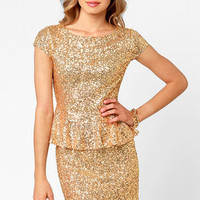 Champagne Dame Gold Sequin Dress