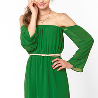 LULUS Exclusive Maiden Heaven Off-the-Shoulder Green Dress