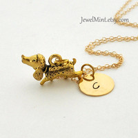 Golden Dog Necklace, Gift For Dog Owner Pet Lover Necklace antique gold Dog Charm Personalized Initial Necklace dog initial gold filled