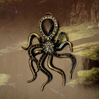RHINESTONE OCTOPUS PENDANT Glass by ParadiseFindings