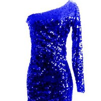 Royal Blue Sequin Long Sleeve Glitter Sparkle Party Dress
