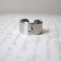 I Love You To The Moon &amp; Back Secret Message Cuff Ring