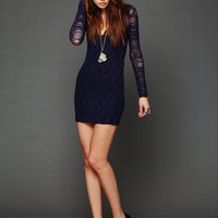 Free People Deep V Long Sleeve Lace Dress