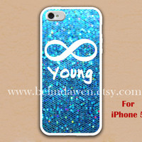 iPhone 5 Case, Forever Young iphone 5 case, infinity iphone 5 case, blue sparkle iphone 5 case, case for iphone 5
