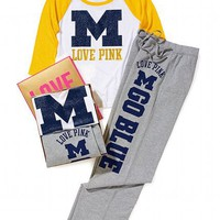 University of Michigan Baseball Tee &amp; Boyfriend Pant Gift Set