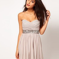 Elise Ryan Embellished Waist Mesh Skater Dress at asos.com