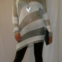 Silver Stripe Metallic Sweater Dress
