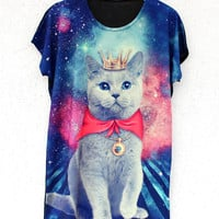 Meow In Space T-Shirt | Cat Galaxy Digital Print Top Dress | Batoko Clothing | BATOKO