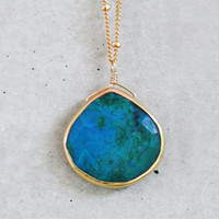 Chrysocolla Heart Bezel 14k Gold Filled Necklace