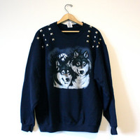 Studded Wolf Navy Sweatshirt