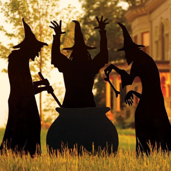 Martha stewart three witches silhouette from grandin road for 3 witches halloween decoration