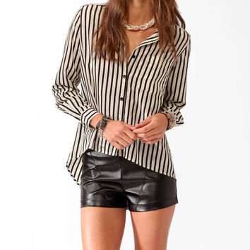 Striped High-Low Blouse