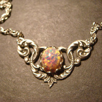 Victorian Style Fire Opal Necklace in Antique Silver (620)