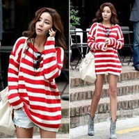 Fashion Red&amp;White Striped Loose Casual Pullover Knitwear Cardigan Sweater 3452