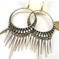 Silver Long Rivets Earrings$31.00