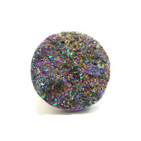 Huge Titanium Quartz Rainbow MOON Druzy Ring n5 by AstralEYE