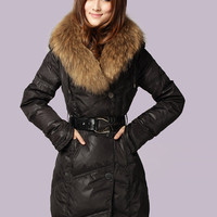 Black Fur Neck Belt Single-breasted Down Coat$199.00