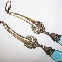 Stunning 1930s Art Deco Aqua Blue Crystal Czech by GypsyRoadStudio