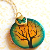 The Tree and the Butterfly Lockets Necklace  Vintage by verabel