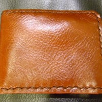 brown leather man's wallet  handmade