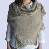 Hand knitted shawl - knitted long scarf -cable knitted scarf -shoulder wrap