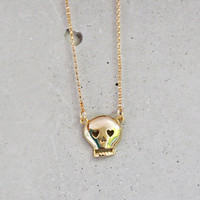 Gold Skull Necklace - Choose your Chain Length